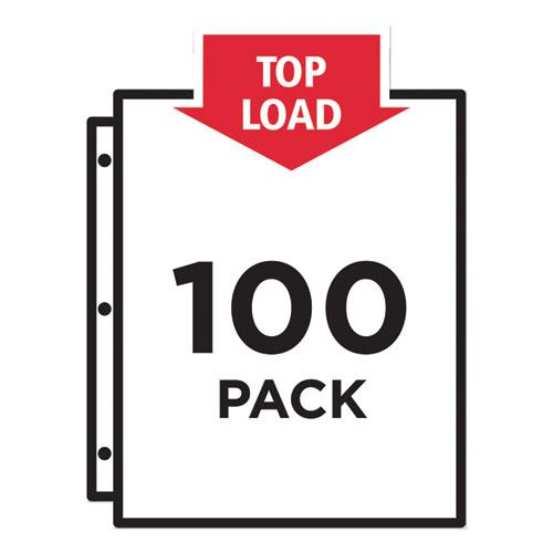 Top-Load Recycled Polypropylene Sheet Protector, Semi-Clear, 100/Box. Picture 3