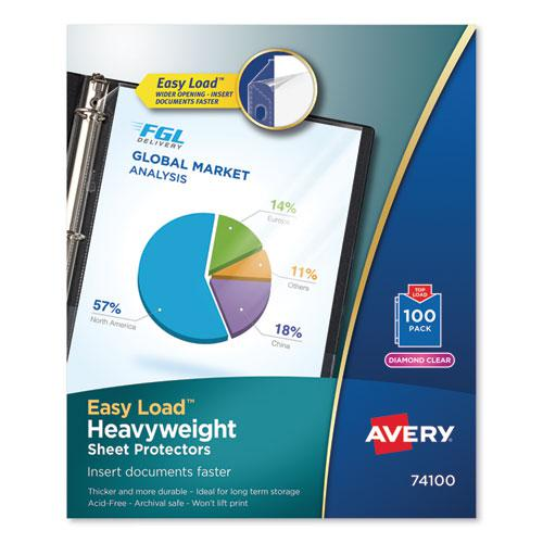 Top-Load Poly Sheet Protectors, Heavy Gauge, Letter, Diamond Clear, 100/Box. Picture 1