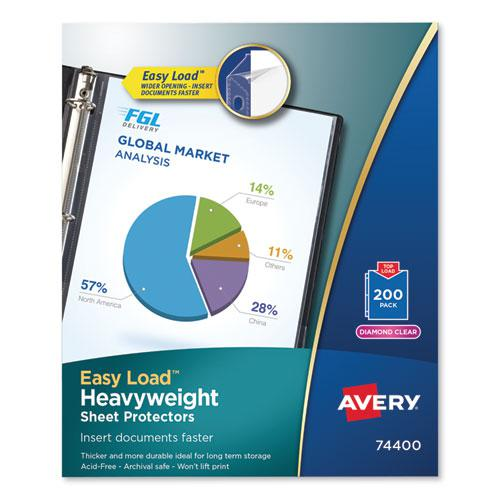Top-Load Poly Sheet Protectors, Heavy, Letter, Diamond Clear, 200/Box. Picture 1