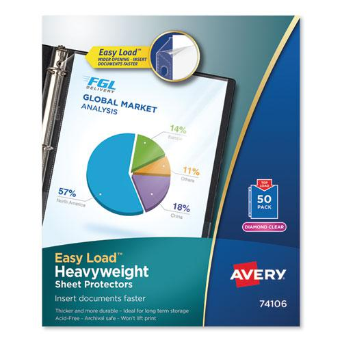 Top-Load Poly Sheet Protectors, Heavy Gauge, Letter, Diamond Clear, 50/Box. Picture 1