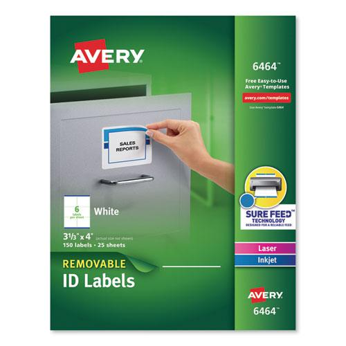 Removable Multi-Use Labels, Inkjet/Laser Printers, 3.33 x 4, White, 6/Sheet, 25 Sheets/Pack. Picture 1