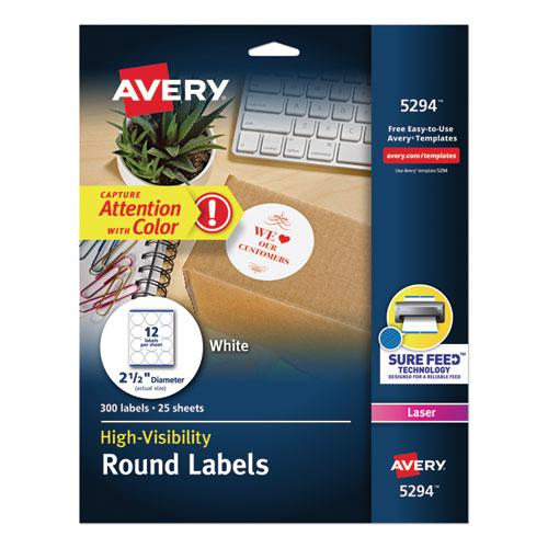 "Permanent Laser Print-to-the-Edge ID Labels w/SureFeed, 2 1/2""dia, White, 300/PK. Picture 1"