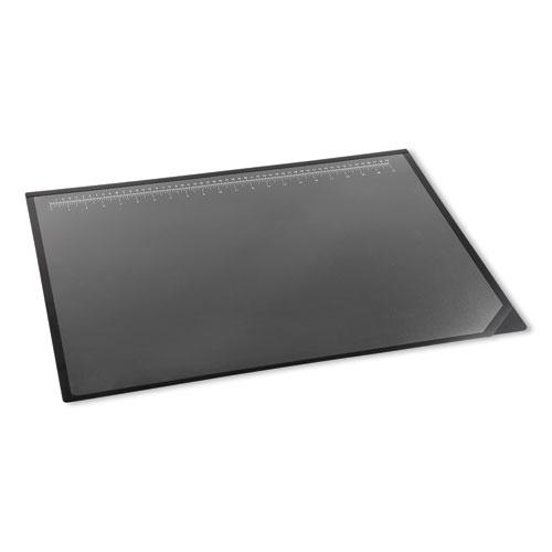 Lift-Top Pad Desktop Organizer with Clear Overlay, 31 x 20, Black. Picture 3