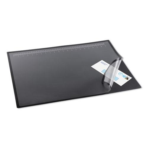 Lift-Top Pad Desktop Organizer with Clear Overlay, 31 x 20, Black. Picture 1