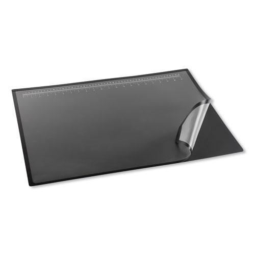 Lift-Top Pad Desktop Organizer with Clear Overlay, 31 x 20, Black. Picture 4