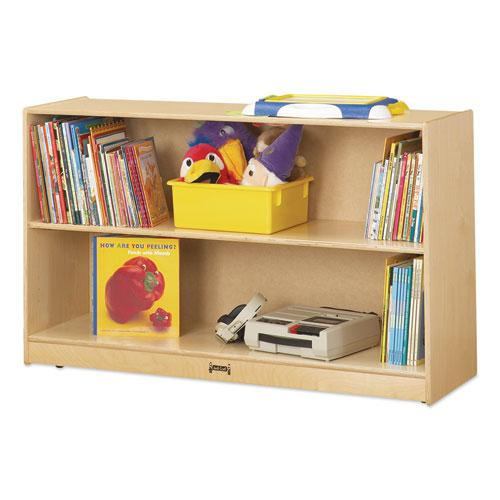 Adjustable Mobile Straight-Shelves, Low, 48w x 15d x 29.5h, Birch. Picture 1