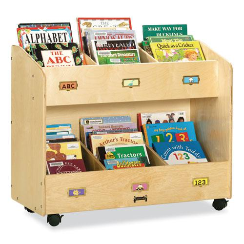 Mobile Section Book Organizers, Six-Section, 36w x 16d x 29.5h, Birch. Picture 1
