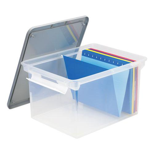 """Portable File Tote with Locking Handles, Letter/Legal Files, 18.5"""" x 14.25"""" x 10.88"""", Clear/Silver. Picture 2"""