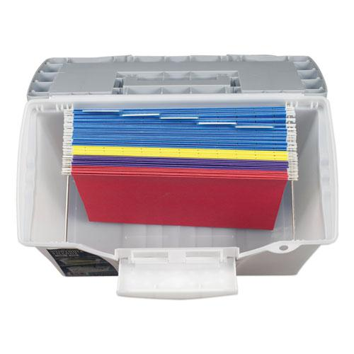 """Portable Letter/Legal Filebox with Organizer Lid, Letter/Legal Files, 14.5"""" x 10.5"""" x 12"""", Clear/Silver. Picture 6"""