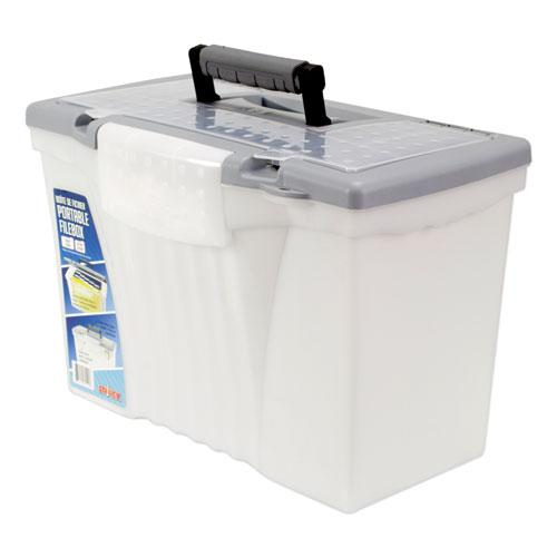 """Portable Letter/Legal Filebox with Organizer Lid, Letter/Legal Files, 14.5"""" x 10.5"""" x 12"""", Clear/Silver. Picture 1"""