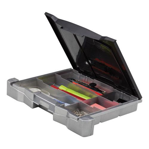"""Portable File Box with Drawer, Letter Files, 14"""" x 11.25"""" x 14.5"""", Black. Picture 4"""