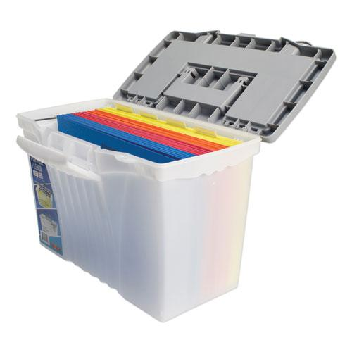 """Portable Letter/Legal Filebox with Organizer Lid, Letter/Legal Files, 14.5"""" x 10.5"""" x 12"""", Clear/Silver. Picture 7"""