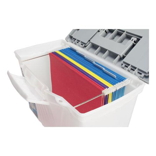 """Portable Letter/Legal Filebox with Organizer Lid, Letter/Legal Files, 14.5"""" x 10.5"""" x 12"""", Clear/Silver. Picture 5"""