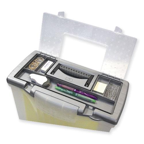 """Portable Letter/Legal Filebox with Organizer Lid, Letter/Legal Files, 14.5"""" x 10.5"""" x 12"""", Clear/Silver. Picture 8"""