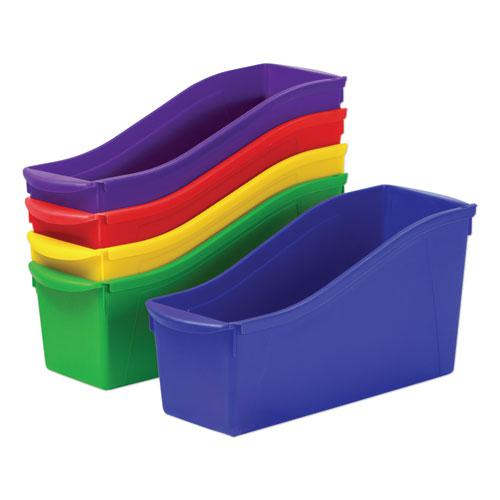 """Interlocking Book Bins, 4.75"""" x 12.63"""" x 7"""", Assorted Colors, 5/Pack. Picture 1"""