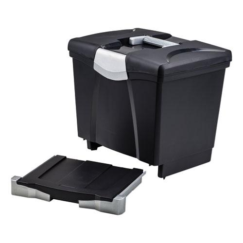 """Portable File Box with Drawer, Letter Files, 14"""" x 11.25"""" x 14.5"""", Black. Picture 2"""