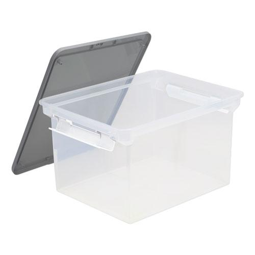 """Portable File Tote with Locking Handles, Letter/Legal Files, 18.5"""" x 14.25"""" x 10.88"""", Clear/Silver. Picture 1"""