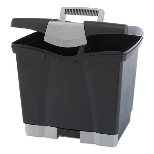 """Portable File Box with Drawer, Letter Files, 14"""" x 11.25"""" x 14.5"""", Black. Picture 1"""