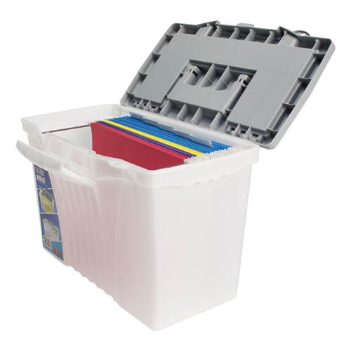 """Portable Letter/Legal Filebox with Organizer Lid, Letter/Legal Files, 14.5"""" x 10.5"""" x 12"""", Clear/Silver. Picture 3"""