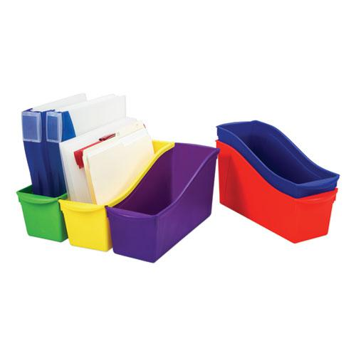 """Interlocking Book Bins, 4.75"""" x 12.63"""" x 7"""", Assorted Colors, 5/Pack. Picture 4"""