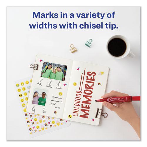 MARKS A LOT Regular Desk-Style Permanent Marker, Broad Chisel Tip, Red, Dozen, (7887). Picture 3