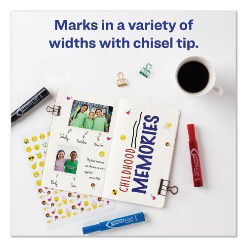 MARKS A LOT Regular Desk-Style Permanent Marker, Broad Chisel Tip, Assorted Colors, 4/Set, (7905). Picture 4