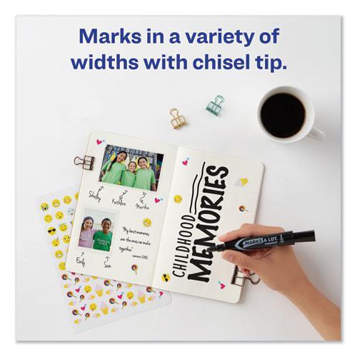 MARKS A LOT Regular Desk-Style Permanent Marker Value Pack, Broad Chisel Tip, Assorted Colors, 24/Pack. Picture 8