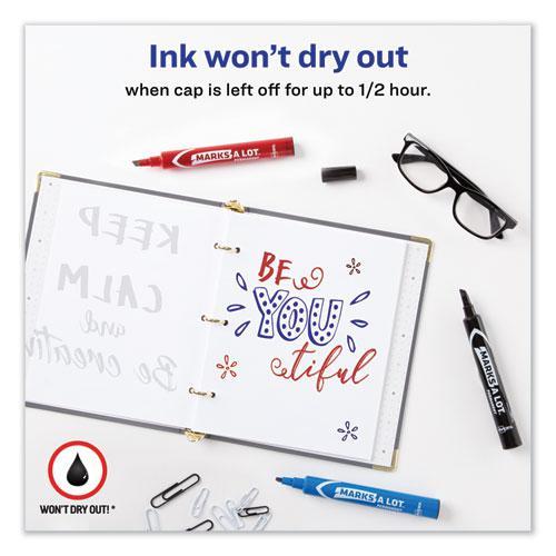 MARKS A LOT Regular Desk-Style Permanent Marker, Broad Chisel Tip, Assorted Colors, 4/Set, (7905). Picture 7