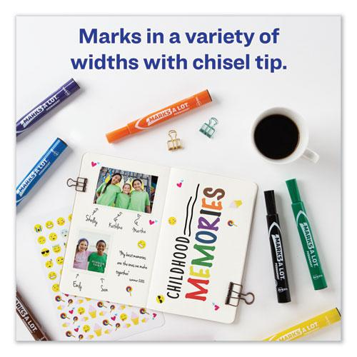MARKS A LOT Large Desk-Style Permanent Marker, Broad Chisel Tip, Assorted Colors, 12/Set. Picture 7