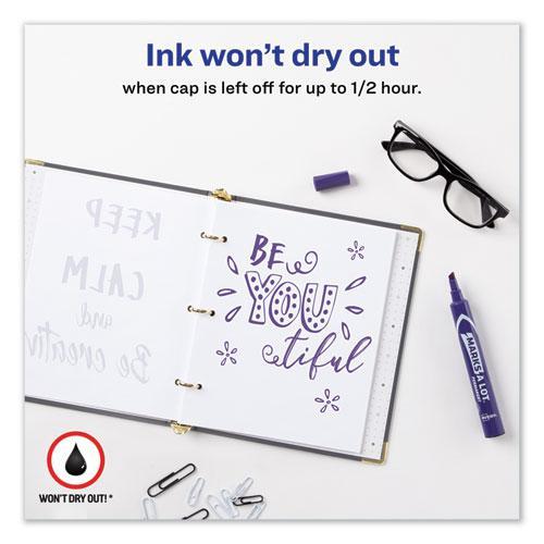 MARKS A LOT Large Desk-Style Permanent Marker, Broad Chisel Tip, Purple, Dozen, (8884). Picture 8