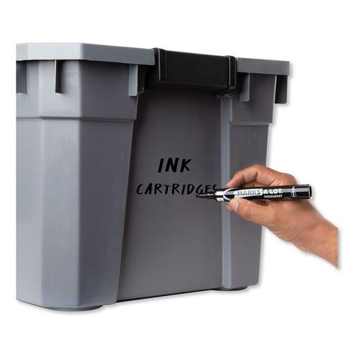 MARKS A LOT Large Desk-Style Permanent Marker with Metal Pocket Clip, Broad Bullet Tip, Black, Dozen. Picture 5