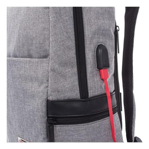 """Sterling Slim Business Backpack, Holds Laptops 15.6"""", 5.5"""" x 5.5"""" x 18"""", Gray"""