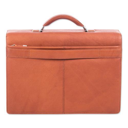 "Milestone Briefcase, Holds Laptops 15.6"", 5"" x 5"" x 12"", Cognac. Picture 3"