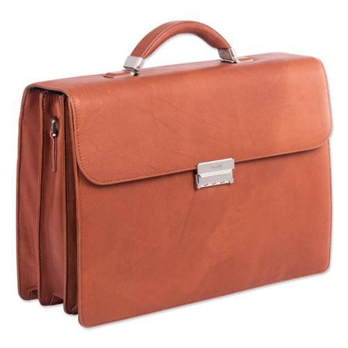 "Milestone Briefcase, Holds Laptops 15.6"", 5"" x 5"" x 12"", Cognac. Picture 1"
