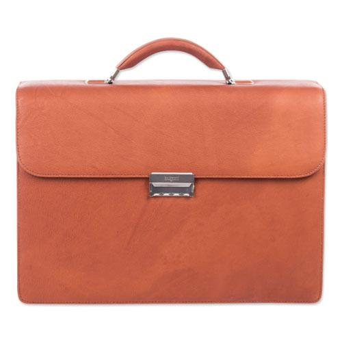 "Milestone Briefcase, Holds Laptops 15.6"", 5"" x 5"" x 12"", Cognac. Picture 4"