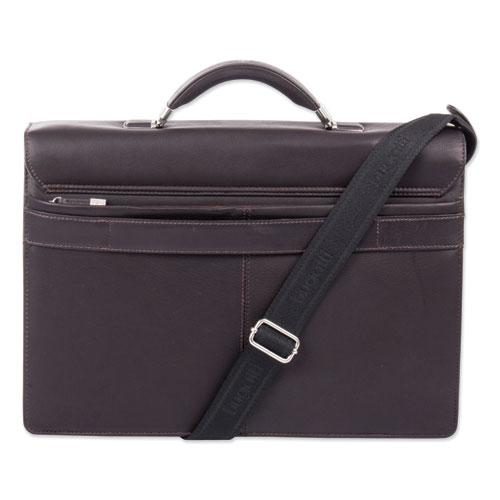 """Milestone Briefcase, Holds Laptops, 15.6"""", 5"""" x 5"""" x 12"""", Brown. Picture 5"""