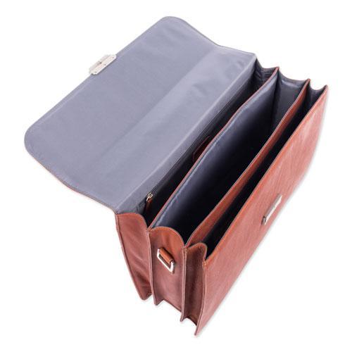 "Milestone Briefcase, Holds Laptops 15.6"", 5"" x 5"" x 12"", Cognac. Picture 6"