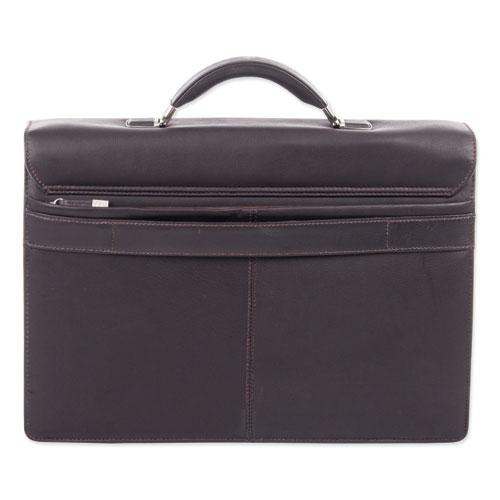 """Milestone Briefcase, Holds Laptops, 15.6"""", 5"""" x 5"""" x 12"""", Brown. Picture 6"""