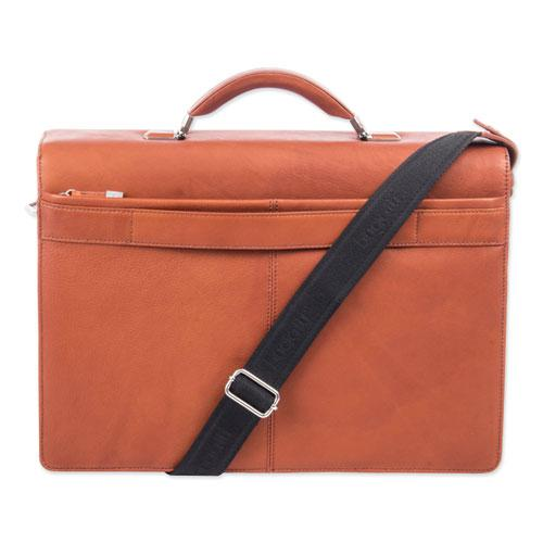 "Milestone Briefcase, Holds Laptops 15.6"", 5"" x 5"" x 12"", Cognac. Picture 5"
