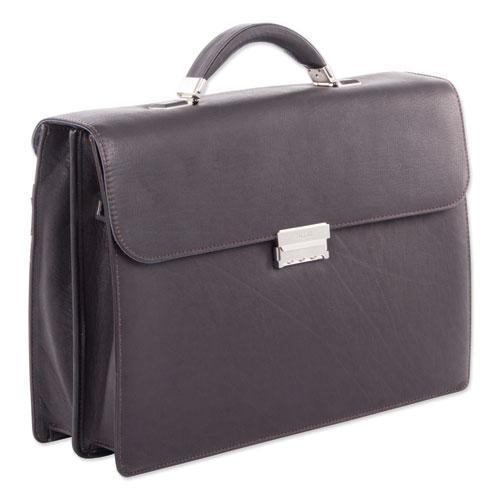 "Milestone Briefcase, Holds Laptops, 15.6"", 5"" x 5"" x 12"", Brown"