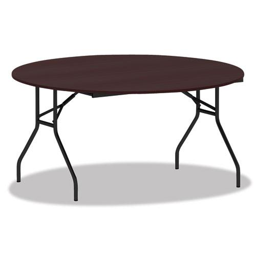 Round Wood Folding Table, 59 Dia x 29 1/8h, Mahogany. Picture 1