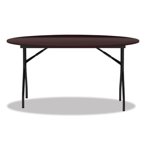 Round Wood Folding Table, 59 Dia x 29 1/8h, Mahogany. Picture 2