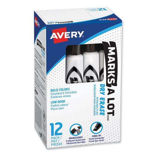 MARKS A LOT Desk-Style Dry Erase Marker, Broad Chisel Tip, Black, Dozen. Picture 1