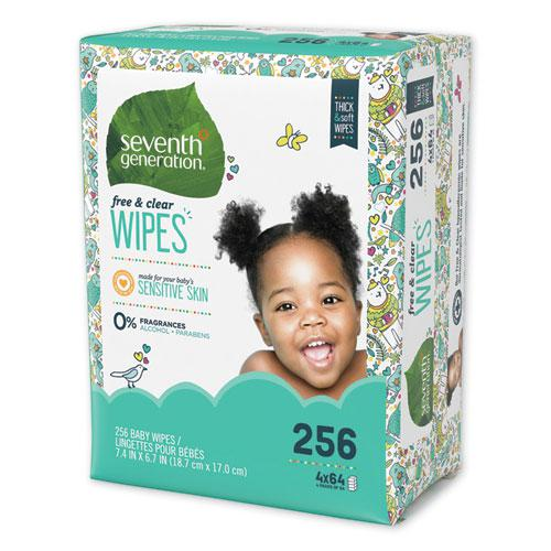 Free & Clear Baby Wipes, Refill, Unscented, White, 256/PK, 3 PK/CT. Picture 5