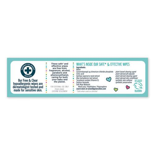Free & Clear Baby Wipes, Refill, Unscented, White, 256/PK, 3 PK/CT. Picture 2
