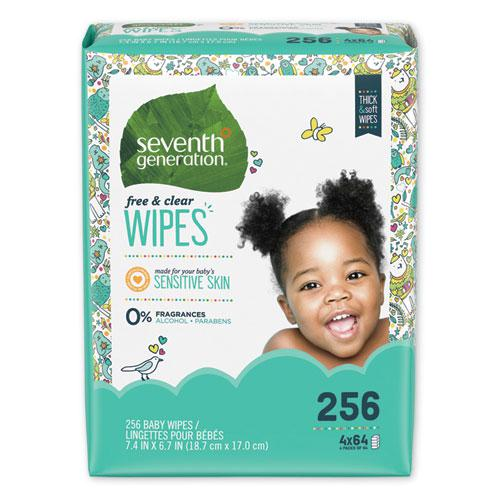 Free & Clear Baby Wipes, Refill, Unscented, White, 256/PK, 3 PK/CT. Picture 1