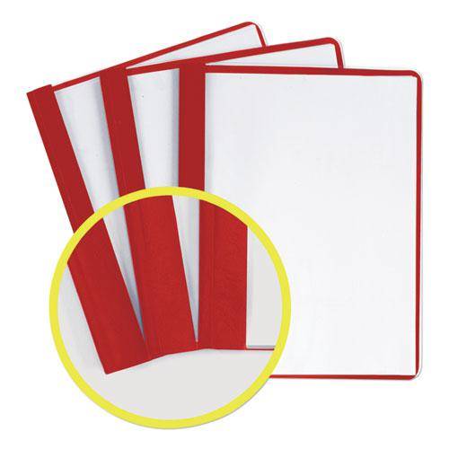 """Durable Clear Front Report Cover with Prong Fasteners, 1/8"""" Cap, Clear/Red, 25/Box. Picture 5"""