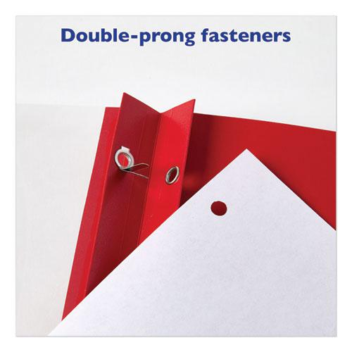 """Durable Clear Front Report Cover with Prong Fasteners, 1/8"""" Cap, Clear/Red, 25/Box. Picture 2"""