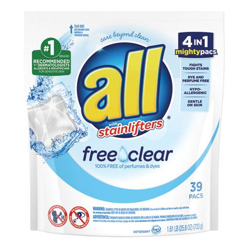 Mighty Pacs Free and Clear Super Concentrated Laundry Detergent, 39/Pack. Picture 1