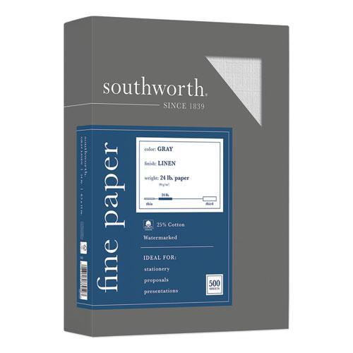 25% Cotton Linen Business Paper, 24 lb, 8.5 x 11, Gray, 500/Ream. Picture 1